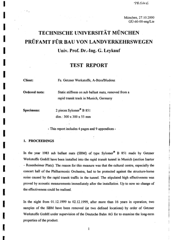 Munich university Test report